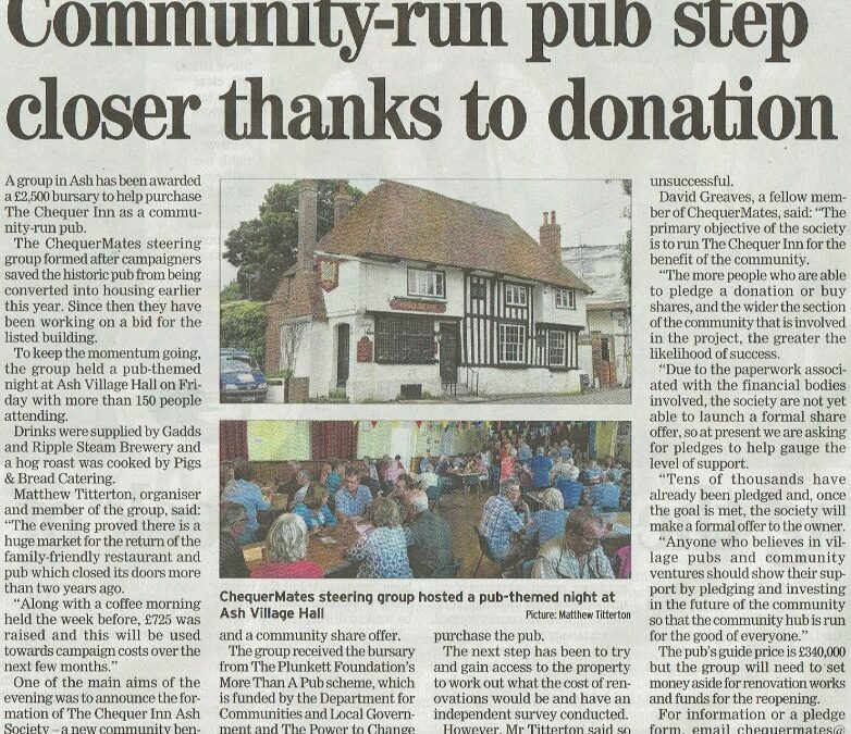 The evening proved there is a desperate need for the return of a Community Village Pub in Ash.