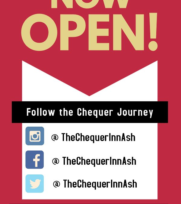 Monday 1st July. The Chequer Inn has officially opened its doors to the community today. A warm welcome to all!